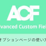 Advanced Custom Fields オプションページの使い方